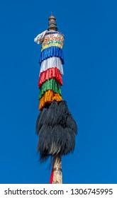 colorful buddhist prayet pole at hemis monastery, Ladakh, India