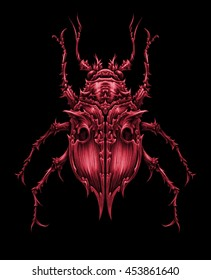 Colorful bugs set, graphic illustration on black background