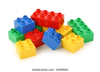 Colorful building blocks on white background