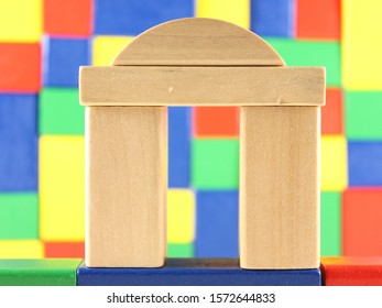 Colorful building bricks, arch, wooden, construction
