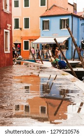 Colorful Building Houses Burano Venice Italy