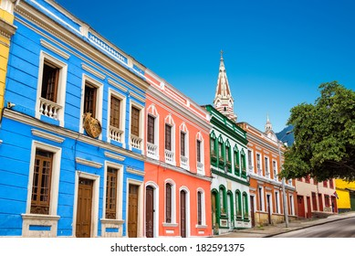 Colorful building in La Candelaria neighborhood in the historic center of Bogota, Colombia