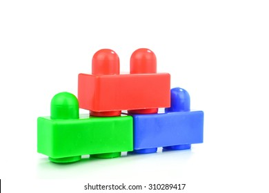 Colorful building plastic block on white background