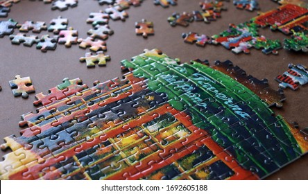 Colorful building puzzle partially completed