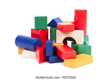 Colorful building toy for kids, stacked on each other.