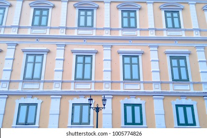 Colorful building and window. City background.