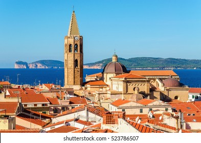 Colorful buildings in Alghero downtown seen from one of the towers, Sardinia, Italy