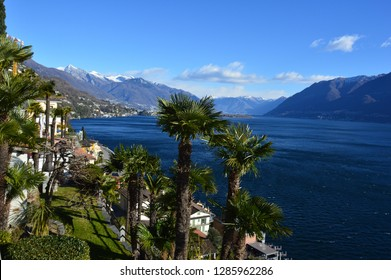 Colorful buildings in Ascona and the view from the old town on the Maggiore Lake, Ticino, Switzerland