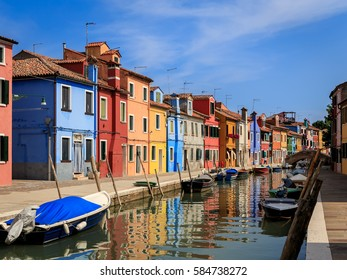 Colorful buildings in Burano Island, Italy