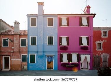 Colorful buildings in Burano island, Venice, Italy