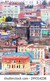 Colorful buildings climbing up a hill in Valparaiso, Chile