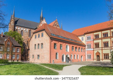 Colorful buildings of the Furstenhof palace in Wismar, Germany