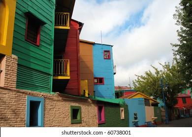 Colorful Buildings in La Boca Neighborhood of Buenos Aires