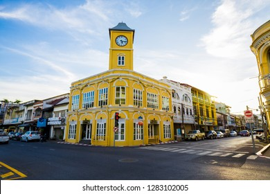 Colorful buildings in old Phuket town in Thailnad