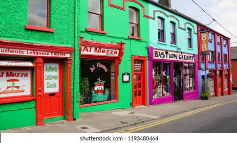 Colorful buildings on historic street in Athlone Ireland. In july of 2018