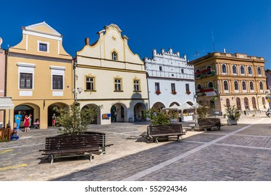 Colorful Buildings On Trebon Square - Trebon, Czech Republic, Europe