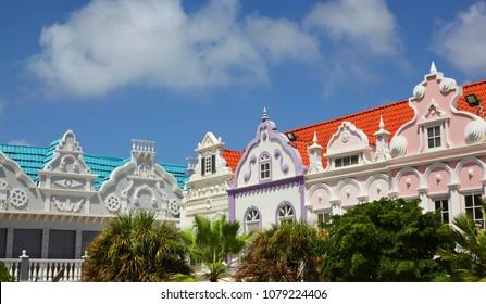 Colorful buildings of Oranjestad Aruba