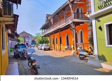 Colorful buildings in panaji.