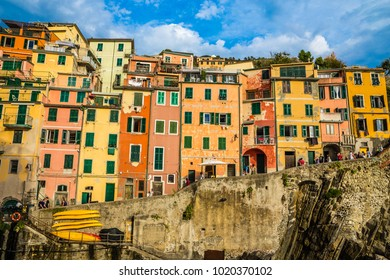 Colorful Buildings In Riomaggiore - Cinque Terre, La Spezia Province, Liguria Region, Italy, Europe