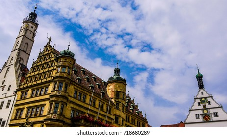 Colorful buildings of Rothenburg Ob Der Tauber in Germany. Showing timber framed and stone buildings, taken in the main city square.
