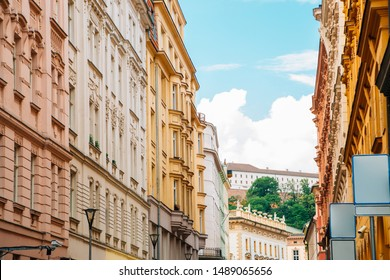 Colorful buildings and Spilberk Castle in Brno, Czech Republic