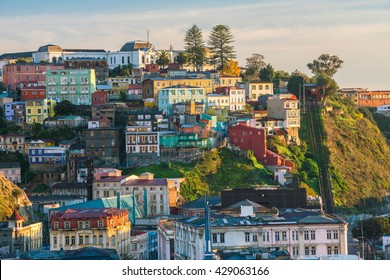 Colorful buildings of the UNESCO World Heritage city of Valparaiso, Chile