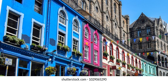 Colorful buildings at Victoria Street, Old Town Edinburgh, Scotland.