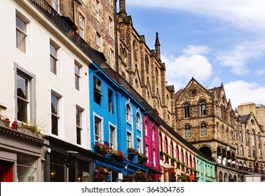 Colorful buildings in Victoria Street, Old Town Edinburgh, Scotland.