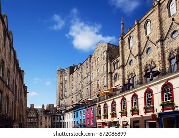 Colorful buildings in Victoria Street in Old Town Edinburgh, Scotland.