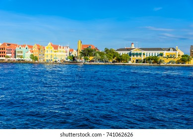 Colorful Buildings in Willemstad downtown, Curacao, Netherlands Antilles,  a small Caribbean island - travel destination for cruise ships or vacation