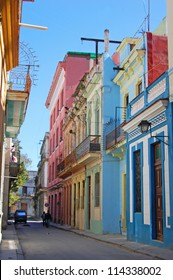 colorful buildings in the world heritage city of historic Havana, Cuba