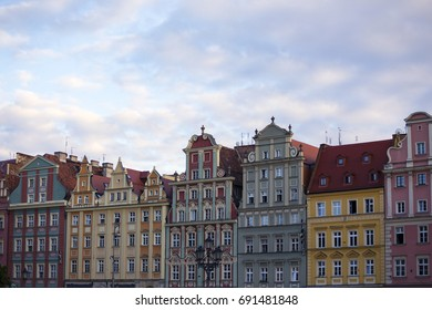 colorful buildings of Wroclaw at the main city square Stary Rynek