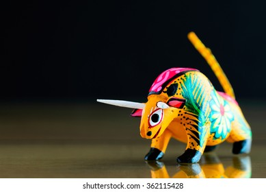 Colorful bull alebrije (Mexican craft)