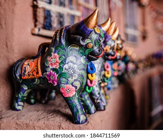 Colorful bull figurine in Cusco, Peru
