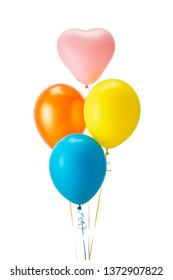 Colorful bunch of helium balloons isolated on white