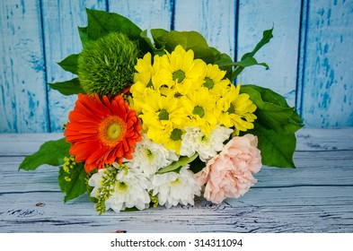 colorful bunch of white, pink and yellow chrysanthemum flowers