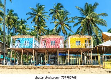 Colorful bungalows on Palolem beach, GOA, India