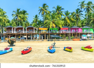 Colorful bungalows on Palolem beach, GOA, India