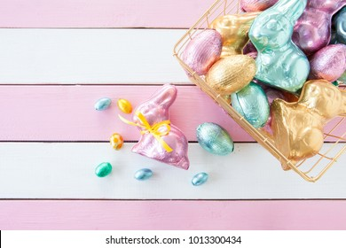 Colorful bunnies made from chocolate for easter