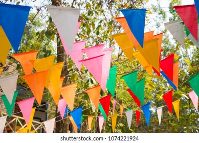 Colorful bunting in outdoor summer festival