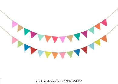 Colorful bunting paper cut on white background - isolated -