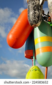 Colorful buoys with a blue sky in Maine, USA