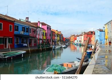 Colorful Burano island in Venice, Italy