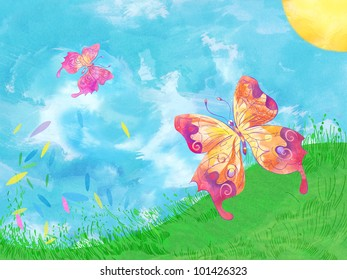 Colorful butterflies. Hand drawn