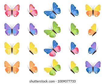 Colorful butterflies isolated on white background. Pretty raster butterfly spring set, collection