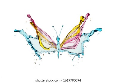 Colorful butterfly formed with colorful liquid splashes. Isolated on white background.