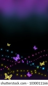 Colorful butterfly patterned beautiful abstract mobile phone wallpaper with glittery.