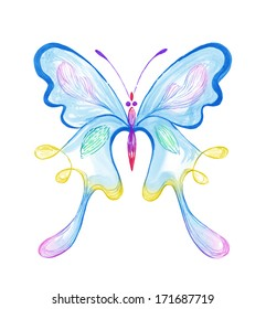 Colorful Butterfly � watercolor painting