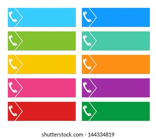 Colorful buttons for web pages menus with the symbol of a phone