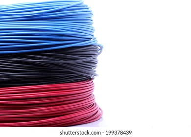 Colorful cable on white background